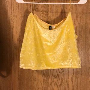 Yellow velvet crop top